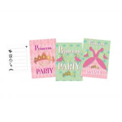 Princess Party invitations, 6pcs.