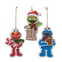 Sesame Street Gingerbread Characters Ornament Case  3 pcs