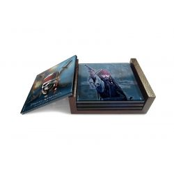 Pirates of the Caribbean Stranger Ties  4 coaster set glass